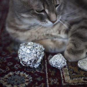 Tin foil ball cat toy