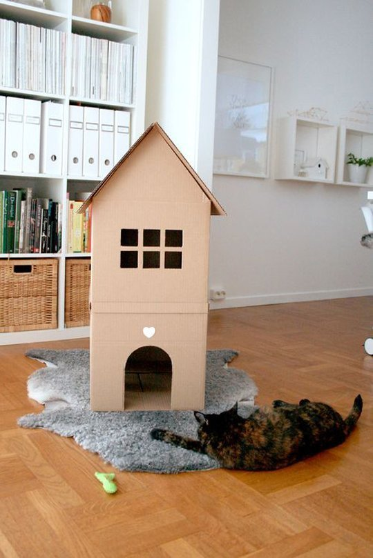Tall cardboard cat house