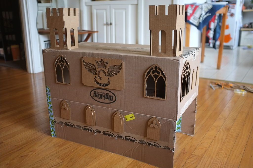 Castle cardboard cat house