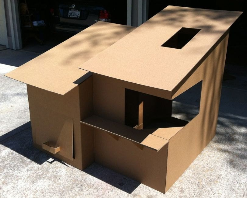 Diy cardboard box homes and towers for cats purrfect love for Modern box house design