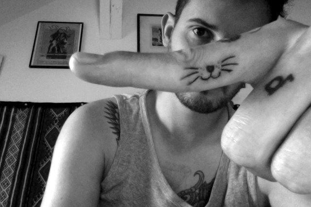 Finger Whiskers Cat Tattoo