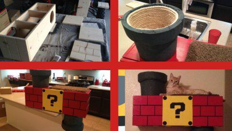 Nintendo-Themed Cat Perch