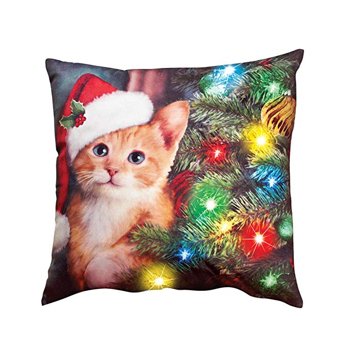 Collections Ect Lighted Christmas Cat Pillow