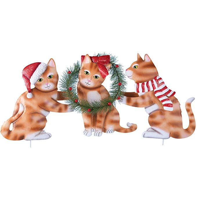 Collections Ect Santa Kittens Garden Stake