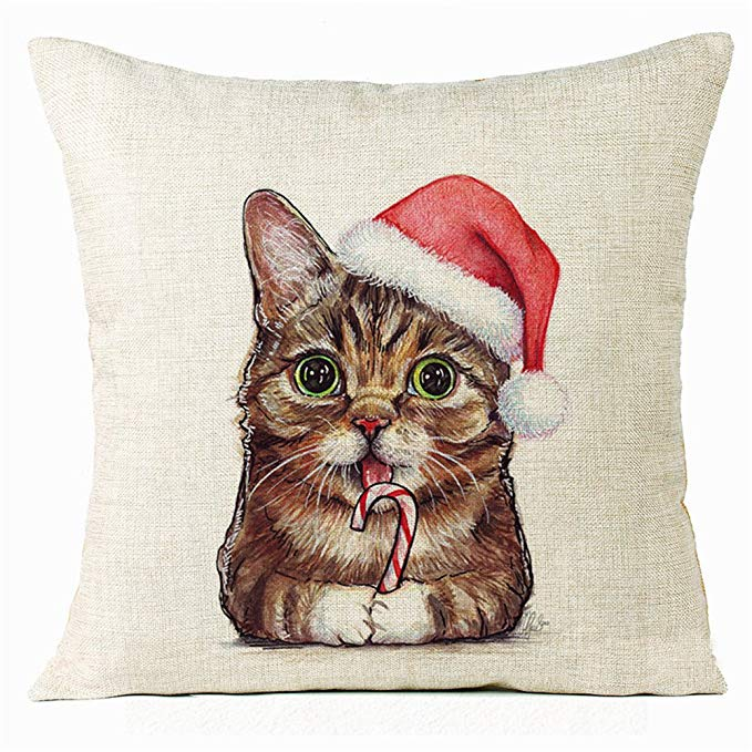 Crystal Emotion Lil Bub Holiday Pillow Cover