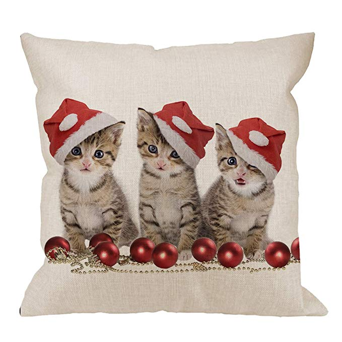 HGOD Designs Santa Kittens Pillow Cover