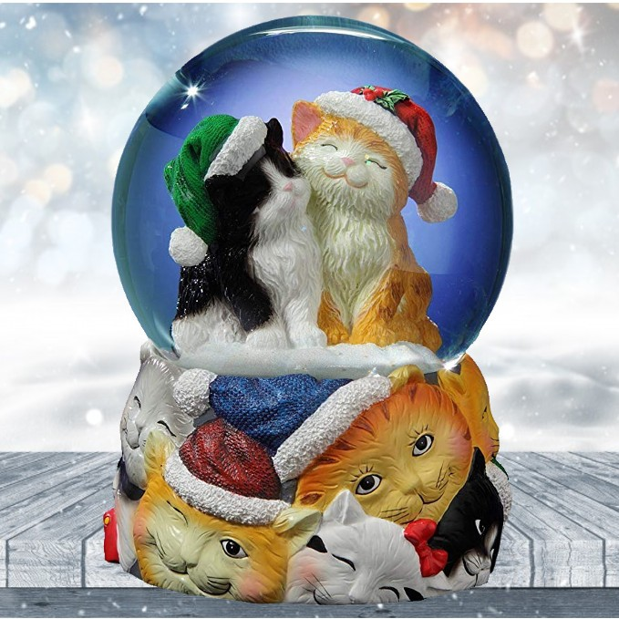 Home Decor Accents Christmas Cats Musical Snowglobe