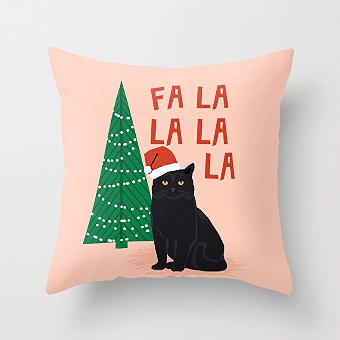 LastPillowCase Fa La La Christmas Cat Pillow Cover