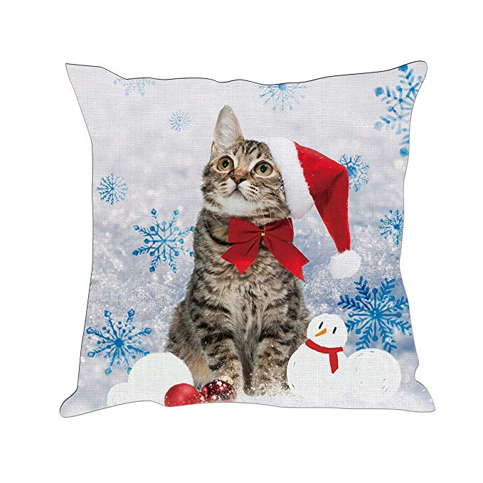 Tom Boy Christmas Cat Snowman Pillow Cover
