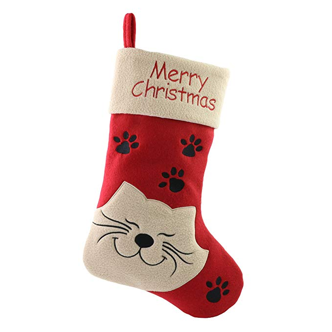 WEWILL Merry Christmas Cat Stocking