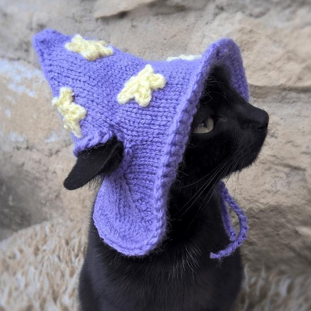 Purple Wizard Cat Hat